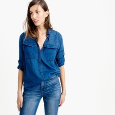"""Sure, you probably have a chambray shirt. But you probably don't have one like this. Consider an upgrade that's made from super-lightweight indigo voile that's washed down to a brilliant-hued blue and finished with contrast buttons. <ul><li>Body length: 28 1/4"""".</li><li>Cotton.</li><li>Long roll-up sleeves.</li><li>Functional buttons at cuffs.</li><li>Button placket.</li><li>Chest pockets.</li><li>Machine wash.</li><li>Import.</li><li>The nature of this product may result in color…"""
