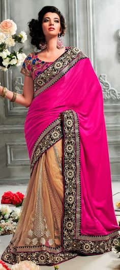 135400, Party Wear Sarees, Embroidered Sarees, Silk, Velvet, Border, Thread, Machine Embroidery, Pink and Majenta, Beige and Brown Color Family