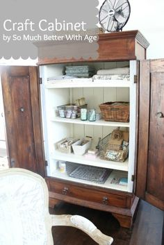 Craft Cabinet. Adorables. Paint the inside of the cabinet and don't touch the outside.