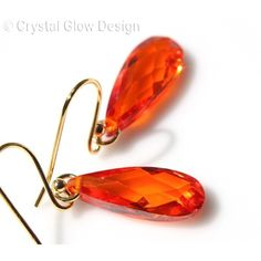 Fire Orange Faceted Drops ($26) ❤ liked on Polyvore featuring jewelry, earrings, orange jewelry, orange earrings, faceted earrings and facet jewelry