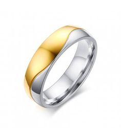 Kéttónusú, férfi titánium karikagyűrű, hullám bevéséssel Paros, Gemstone Rings, Rings For Men, Wedding Rings, Engagement Rings, Gemstones, Jewelry, Enagement Rings, Men Rings