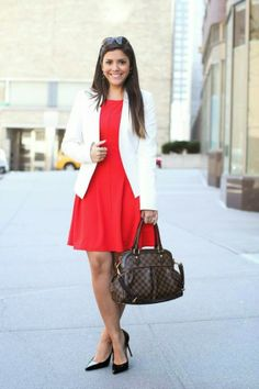 wear to work: red dress