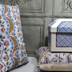 Textiles and small decor goods by Antoinette Poisson | Lonny.com Colorful Wallpaper, Fabric Wallpaper, Of Wallpaper, Hat Boxes, Best Pillow, France, Home Decor Shops, Decoration, Textile Design