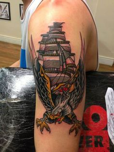 Eagle and Ship Arm Tattoo By Hugh Sheldon #tattoo #tattoos #traditional #traditionaltattoo #london #londontattoo #tattooart #old #school #fierce #hot #for #guys #men #ship #bird #traditional #cloak #and #dagger #studio #cloakanddagger
