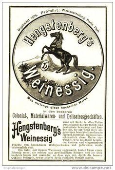 Original-Werbung/ Anzeige 1903 - HENGSTENBERG'S WEINESSIG - ca. 90 x 160 mm
