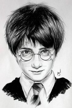 Harry Potter Drawings Easy, Harry Potter Portraits, Harry Potter Sketch, Arte Do Harry Potter, Harry Potter Painting, Harry Potter Artwork, Harry Potter Anime, Harry Potter Wallpaper, Harry Potter Wand