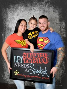 Every Superhero Needs a Sidekick Pregnancy Announcement Chalkboard: Photo Prop (14x11) - Personalized *Digital File*