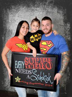 Every Superhero Needs a Sidekick Pregnancy Announcement Chalkboard: Photo Prop (14x11) - Personalized *Digital File*