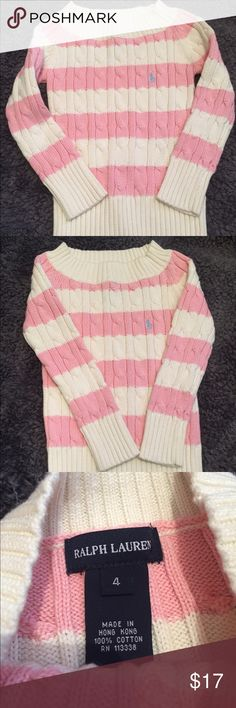 Ralph Lauren Striped Pink & White sweater Cute RL striped sweater. It looks brand new & would be the perfect addition to any young fashionista's wardrobe. Size 4 100% cotton. Ralph Lauren Shirts & Tops Sweaters