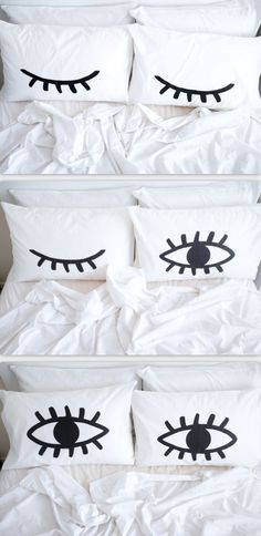 Super cute eye pillowcases! Open on one side and closed on the other