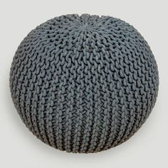 Charcoal Knitted Pouf, foot stool, or for a yoga room/ reading room with lots of floor pillows
