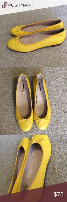 J. Crew Leather 'Camille' ballet flat Never worn! Yellow 'Camille' ballet flats. Leather upper, lining, and sole. Made in Italy. Online only product! Make an offer! J. Crew Shoes Flats & Loafers