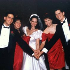 Jim Caviezel and his sibling at their sister Ann's Wedding in December 1992.