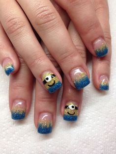 Despicable me glitter nails