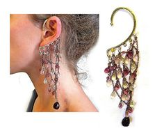 FREE SHIPPING Multi strand chain and bead ear cuff by worn2Bwild, £15.00