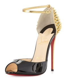 Pina Spike Red Sole Sandal, Black/Gold by Christian Louboutin at Bergdorf Goodman.