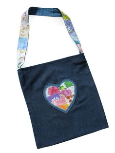 Happy Scrappy Heart Bag. A Ladies Tote or a Library Bag for Girls.