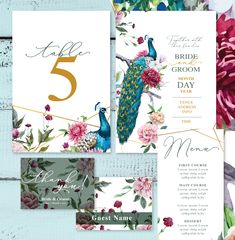 Beautiful Terry lLe. Edit the text in Microsoft word. Add some color to you wedding day. Soft watercolor flowers with a stunning peacock bird.