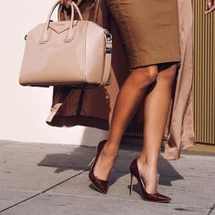 Obsessed with the dark Tan Paris heels (shown with the Morena dress and Coryn jacket)  Shop; houseofcb.com