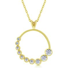18k Gold Plated Graduated Circle Pendant with Round Cut Clear Cubic Zirconia in a Bezel Setting Polished into a Lustrous Goldtone Finish Chain Included