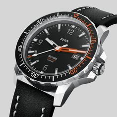 Coming Soon to kickstarter, register your interest today at bernwatch.com    42mm 316L Brushed Stainless Steel Case, powered by Miyota 8215 Mechanical movement, 300m/1000ft Dive depth, unidirectional clicking bezel with Swiss X1-Grade GL-C3 Superluminova on indexes, hands and aluminium bezel insert. Anti Reflective coated Sapphire Crystal. One of the most awaited dive watch launches of 2019 Brushed Stainless Steel, Bern, Diving, Product Launch, Watches, Black, Accessories, Scuba Diving, Black People