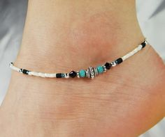 Anklet Ankle Bracelet Turquoise Blue Crystal by ABeadApartJewelry