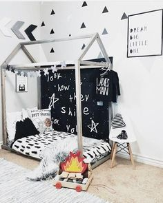 Diy kids teepee bed tent 50 new ideas Toddler Floor Bed, Toddler Bedding Boy, Floor Beds For Toddlers, House Beds For Kids, Toddler House Bed, Montessori Toddler Rooms, Cadre Diy, Teepee Bed, Kids Room Design