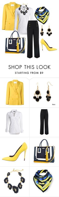 """Yellow Blazer"" by easy-dressing ❤ liked on Polyvore featuring Cédric Charlier, Alexa Starr, NIC+ZOE, Oasis, Fendi, River Island, Oscar de la Renta and Kris Jane"