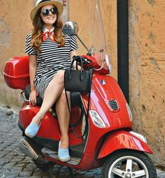 Red vespa girl scooters with photos 57