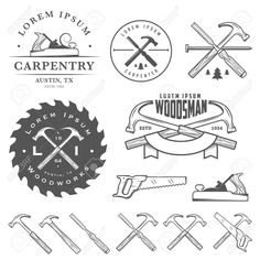 woodworking - Set of vintage carpentry tools, labels and design elements Woodworking For Kids, Woodworking Store, Woodworking Videos, Woodworking Projects Plans, Teds Woodworking, Youtube Woodworking, Woodworking Workshop, Custom Woodworking, Woodworking Quotes