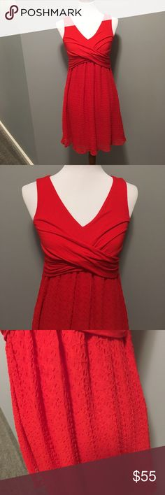 Anthropologie red dress, petite small, EUC Gorgeous red dress from Anthro! Petite small. Comfortable fabric, skirt fully lined. 35 inches long. EUC. Smoke free home. Made in the USA Anthropologie Dresses