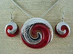 Silver and Some - Necklace Set, Koru Necklace and Earring Set - Red