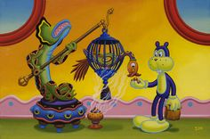 jim woodring. nice colors. check out frank's blue outline