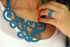 Choker Earrings and Bracelet Set. Contemporary by Kairajewelry