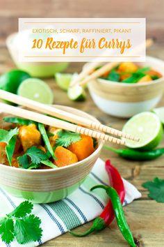 Das beste Rezept gegen Fernweh: viele, viele Gewürze, ein großer Topf und 10 leckere Curryideen. Mit Fisch, vegetarisch, ausgefallen - du hast die Wahl!