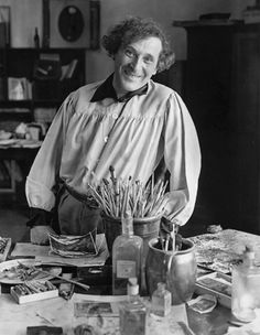 Marc Chagall in His Studio, Paris, 1933 by  Andre Kertesz                                                                                                                                                                                 More