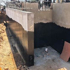 Waterproofing basement on one of our villas under construction Wet Basement, Basement House, Basement Walls, Building Structure, Building A House, Eco Deco, Building Foundation, Basement Inspiration, Basement Remodeling