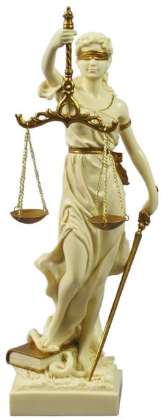 Lady Justice Statue- Cream and Gold