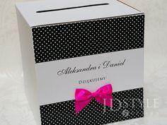 Pudełko na koperty ślubne AL-16-PNK, tasiemka intensywa fuksja