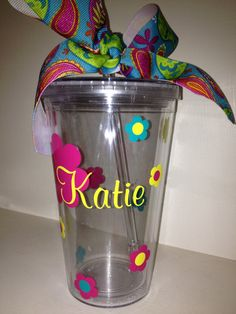 Personalized Tumbler with Flower Design  by DancingWorkbench, $9.95