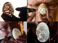 Laser-made egg shell artwork.