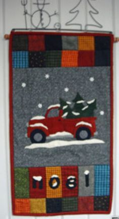 Grandpa's old red truck is loaded with trees for Christmas. Fun wall hanging quilt pattern for the holidays. Applique Wall Hanging, Hanging Quilts, Quilted Wall Hangings, Christmas Tree Rug, Christmas Red Truck, Country Christmas, Christmas Stocking, Christmas Ideas, Christmas Crafts