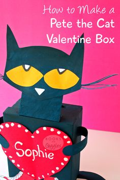 Tips For Just A Second Wedding Ceremony Anniversary Reward How To Make A School Valentine Box Inspired By Favorite Children's Book Character Pete The Cat. Valentine Boxes For School, Valentines For Boys, Cat Valentine, Valentine Day Crafts, Valentine Ideas, Valentine Stuff, Printable Valentine, Homemade Valentines, Valentine Wreath