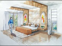 2-point Interior Design Perspective Drawing Manual Rendering How to Tutorial Lessons-3 Watercolour - YouTube
