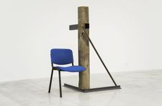 Oscar Tuazon, Steel, oak post, office chair, 2011