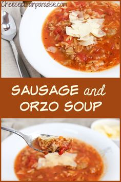 Hearty Sausage and Orzo Soup is a delicious weeknight dinner that is ready in under 30 minutes. Filled with savory sausage, tomatoes, tender orzo, and topped with parmesan cheese. Use your pantry staples to make this delicious soup! Homemade Vegetable Soups, Vegetable Soup Recipes, Chicken Soup Recipes, Easy Soup Recipes, Weeknight Dinners, Easy Dinners, Vegetarian Soup, Vegetarian Recipes, Dump Soup Recipe