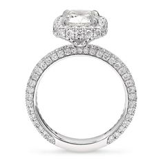 3.70 Carat Halo Design Pavé Set Diamond Engagement ring in Platinum – Shimansky Engagement Ring Styles, Diamond Engagement Rings, Platinum Metal, Ring Crafts, Cushion Cut Diamonds, Custom Jewelry Design, Fashion Rings, Diamond Jewelry, Halo