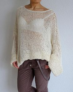 Hand knitted oversized /slouchy cotton sweater. Knitted product is soft, light and airy. Light wear, practical and convenient. Great addition to your everyday clothing. Material: cotton, acrylic Size: One size fits for all - Medium/Large/X-large Sizes M (US 8-10; UK 12-14; EU 38-40)