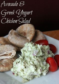 Avocado and Greek Yogurt Chicken Salad (No Mayonnaise)     1 ripe avocado, removed from skin     ½ cup plain Greek yogurt     ½ teaspoon garlic granulated garlic     ½ teaspoon onion powder     ¼ teaspoon salt     ¼ ground pepper     2 cups chopped or shredded cooked chicken     ½ red onion, chopped     1 small lime