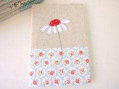 Embroidered applique daisy fabric notebook cover - with A5 notebook